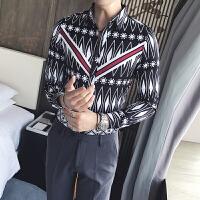 新款秋季男士长袖衬衫韩版修身个性菱形印花休闲衬衣潮男民族风花
