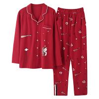 春秋季情侣睡衣纯棉长袖加肥加大码大红新婚男女家居服套装