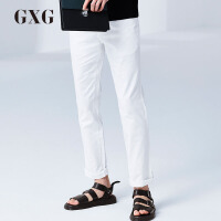 GXG休闲裤男装男裤秋季 男士白色时尚休闲商务流行修身青年长裤男