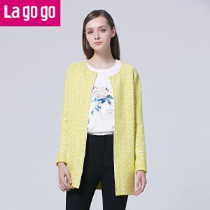 Lagogo/拉谷谷2016年春季新款圆领休闲长袖针织开衫
