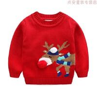 红色圣诞麋鹿男童女童宝宝儿童装套头毛衣针织衫冬装新年毛衣 红色