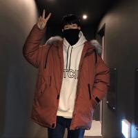 韩版男士纯色中长款宽松ins棉服外套冬季青少年加厚简约毛领棉衣棉服