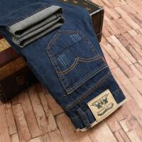 牛仔裤男士修身型浅色秋季薄款青年韩版宽松大码商务休闲直筒长裤