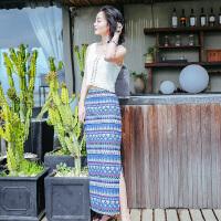 夏季新品女装两件套装镂空连衣裙波西米亚长裙海边度假沙滩裙 图片色XZA580