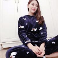 慈姑法兰绒睡衣女秋冬加厚大码珊瑚绒长袖套装可爱卡通韩版休闲家居服