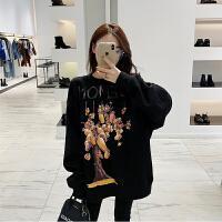 2018秋冬新款黑色长袖保暖加绒加厚套头情侣卫衣女宽松上衣 黑色 预售2天左右