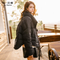 拉夏贝尔拉贝缇2017冬季新款韩版时尚短款个性口袋羽绒服外套潮女