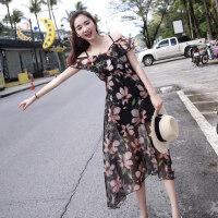 连衣裙女夏2018新款冷淡风复古极简显瘦吊带长裙雪纺沙滩海边度假 图片色