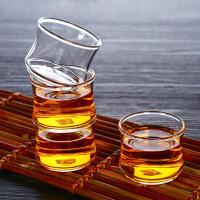 6只装耐热玻璃小茶杯透明品茗杯创意可堆叠杯竹节杯60ML耐热小玻璃杯家用功夫茶小杯子