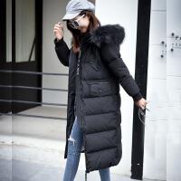 特大码羽绒服女胖mm200斤加肥2018冬装新款长款过膝加厚外套250斤 黑色 真毛领