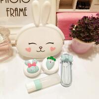 隐形眼镜盒 少女可爱小清新萌兔硅胶包便携卡通眼镜护理盒子美瞳盒双联盒伴侣盒套装