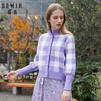 森马开衫女2019春季新款针织衫外套长袖短款清新撞色格纹网红宽松