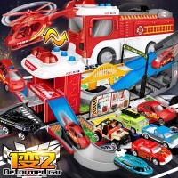 套装2-3-6周岁4男孩消防车儿童玩具大号升降停车场挖掘机工程合金
