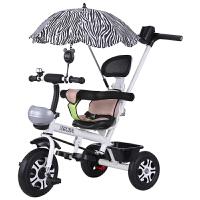 儿童三轮车脚踏车1-3周岁小孩手推车男女婴儿宝宝自行车幼儿童车 白色 手推发泡-无护