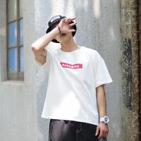 短袖T恤男五分袖纯棉潮牌宽松印花港风夏季男士圆领百搭t恤打底衫