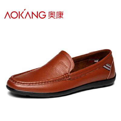奥康男士低帮皮鞋套脚透气圆头鞋子日常休闲豆豆鞋