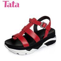 Tata/他她夏季小牛皮活力运动风舒适坡跟女凉鞋2PJ01BL6