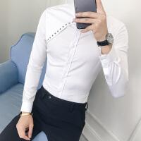 男士长袖衬衫复古铆钉装饰修身夜店男发型师衬衣