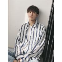韩版春季新款条纹衬衫男宽松长袖衬衣情侣百搭外套小清新寸衫潮流