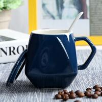创意陶瓷杯子简约水杯牛奶咖啡杯马克杯带盖勺个性早餐杯定制logo 亮