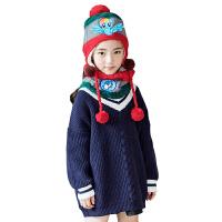 KK树新款女童毛衣套头衫韩版长款儿童毛衣保暖宽松上衣秋冬款童装