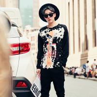 新款潮男休闲个性印花长袖毛衣韩版修身圆领秋装针织线衫青少年线