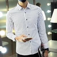 新款2018男士长袖男士个性长袖衬衫衬衫男长袖韩版学生个潮流