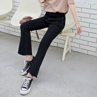 Lee Cooper春秋新款黑色牛仔裤子女潮ins显瘦百搭高腰垂感休闲女士九分喇叭裤
