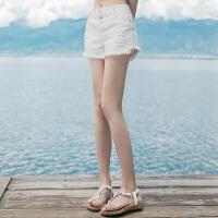 作品夏季新品女装休闲短显瘦收腰牛仔短裤热裤 白色 XZ443