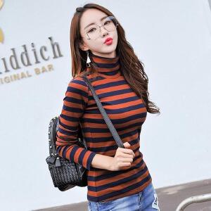 春装女装新款长袖T恤女韩版高领粗条纹百搭修身上衣打底衫