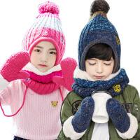 kk树保暖儿童帽子围巾手套三件套加厚宝宝帽子秋冬男女童围脖卡通