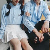新款秋冬季企鹅刺绣长袖衬衣男村忖寸衫杉女浅蓝色衬衫情侣装学生