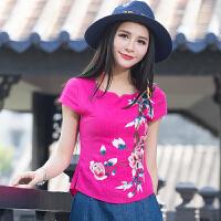 中国风女装棉麻上衣 夏装新款民族风绣花短袖修身短款衬衫T恤