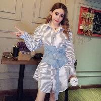 2018春季新款韩版时尚女装牛仔腰封+翻领灯笼袖收腰百搭衬衣A859