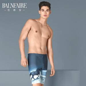 范德安印花暗纹泳裤男士平角五分 时尚大码游泳裤速干沙滩裤