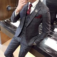 18秋冬男士潮流格子西服套装韩版修身青年结婚西装马甲裤子三件套