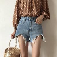 牛仔短裤女2018夏季新款韩版chic宽松显瘦阔腿高腰热裤 蓝色