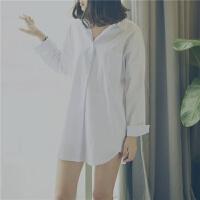 白衬衫女中长款长袖纯棉宽松大码欧美bf男友风简约性感睡衣衬衣春 白色