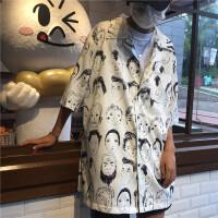 新款衬衣男长袖韩国风潮青少年学生人物印花烫衬衣嘻哈街舞上衣