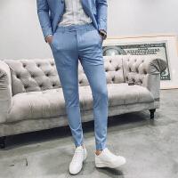 新品18春季新款男士韩版修身纯色小脚西装裤子潮流青年免烫休闲裤