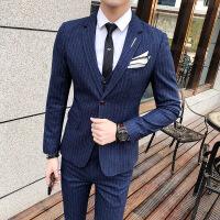 西服套装男新郎结婚礼服男士三件套修身韩版四季青年英伦风小西装