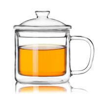 350ml双层玻璃杯咖啡杯带盖耐热隔热水杯子复古透明大小茶缸水杯子透明过滤办公茶杯 马克杯