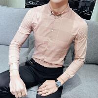 新品18春装男士韩版修身潮流格子长袖衬衫青年小伙免烫休闲衬衣服