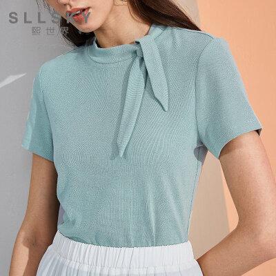 熙世界夏季短袖t恤女2018新款纯色修身不对称上衣棉质111ST829