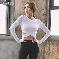 【女神特惠价】Kombucha瑜伽健身长袖T恤女士性感露脐修身显瘦跑步运动上衣YGS91