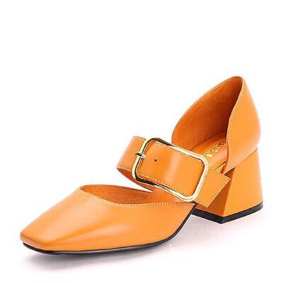 Belle/百丽2017夏复古知性牛皮玛丽珍鞋女凉鞋34101BK7