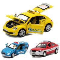 仿真回力合金汽车模型 宝马甲壳虫现代出租车的士玩具声光小汽车