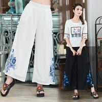 民族风女装原创设计夏季新款中国风飘逸雪纺绣花宽松阔腿长裤