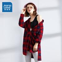 [618提前购专享价:69.9元]真维斯女装秋装新款中长款格子长袖衬衫纯棉衬衣休闲潮流上衣