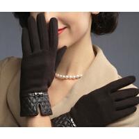 女冬可爱结碗口菱形格蝴蝶冬季女绒布手套女士手套